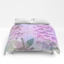Pastel painterly foxgloves Comforters