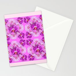 Pink Color Abstracted Modern Purple Moth Orchids Stationery Cards