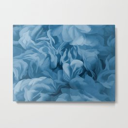 Midnight Blue Petal Ruffle Abstract Metal Print