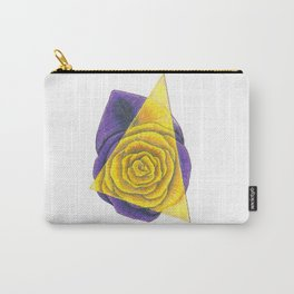 Purple and Yellow Rose with Triangle Carry-All Pouch