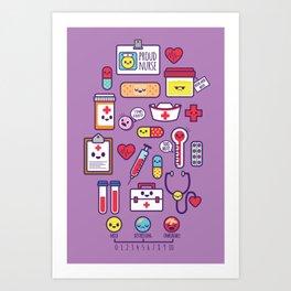 Proud To Be a Nurse Pattern / Purple Art Print