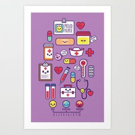 Proud To Be a Nurse Pattern / Purple Art Print
