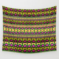 stripe Wall Tapestries featuring Tribal Stripe by Ruby Valderama