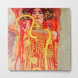 """Gustav Klimt """"University of Vienna Ceiling Paintings (Medicine), detail showing Hygieia"""" Metal Print"""