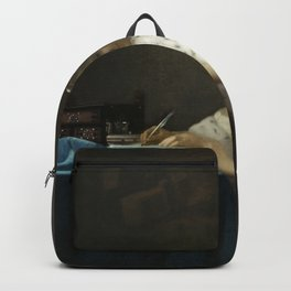 A Lady Writing Oil Painting by Johannes Vermeer Backpack