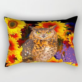 EBONY BLACK NIGHT OWL SUNFLOWERS Rectangular Pillow