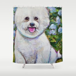 Bichon Frise Floof in a Garden by Robert Phelps Shower Curtain