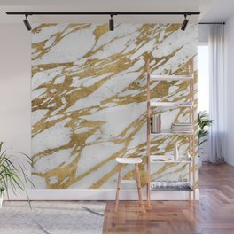 Modern Gold White Marble Stone Chic Pattern Wall Mural