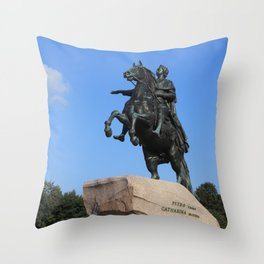 "Bronze monument of Peter the Great. ""Bronze Horseman"" Throw Pillow"