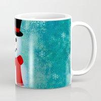snowman Mugs featuring snowman by vitamin