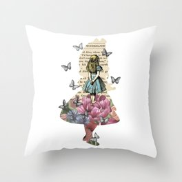 Alice In Wonderland Magical Garden - Vintage Book Throw Pillow