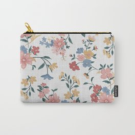 Primary Colors Flowers Pretty Pastel Floral Pattern White Wall Carry-All Pouch