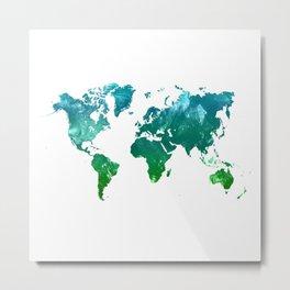Green watercolor world map Metal Print