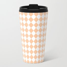 White and Deep Peach Orange Diamonds Travel Mug