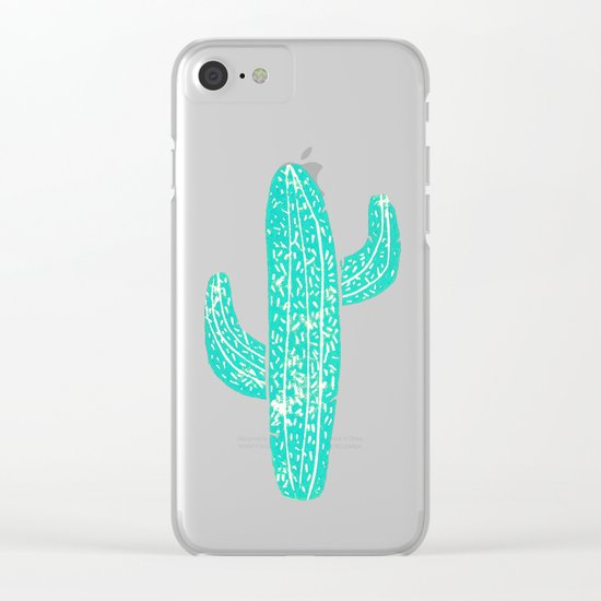 Linocut Cacti Candy Clear iPhone Case
