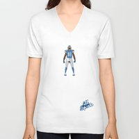 calvin V-neck T-shirts featuring One Pride - Calvin Johnson by IllSports