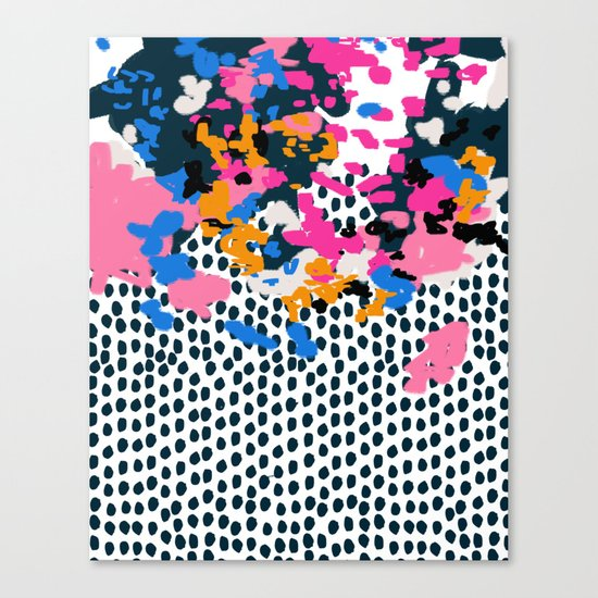 Kenzi - Flowers with Dots - Floral Abstract, graphic design print pattern Canvas Print