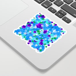 Bright Floral Pattern with Girly Flowers in Preppy Blue and Purple Sticker
