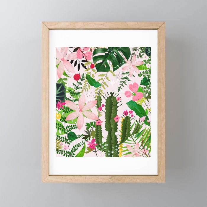 pink desert flowers Framed Mini Art Print