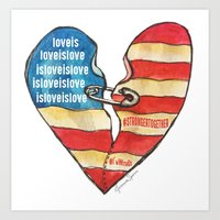 Torn Heart Flag Held Together With a Safety Pin Art Print