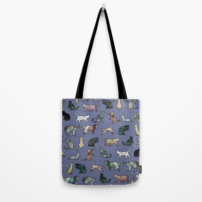 Cats shaped Marble - Violet Blue Tote Bag