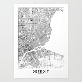 Detroit White Map Art Print