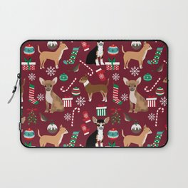 Chihuahua christmas presents dog breed stockings candy canes mittens Laptop Sleeve
