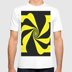 Abstract. Yellow+Black. MEDIUM White Mens Fitted Tee