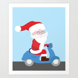 Santa Claus coming to you on his Scooter Art Print