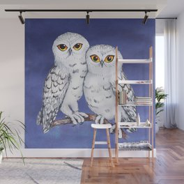 Two lovely snowy owls Wall Mural