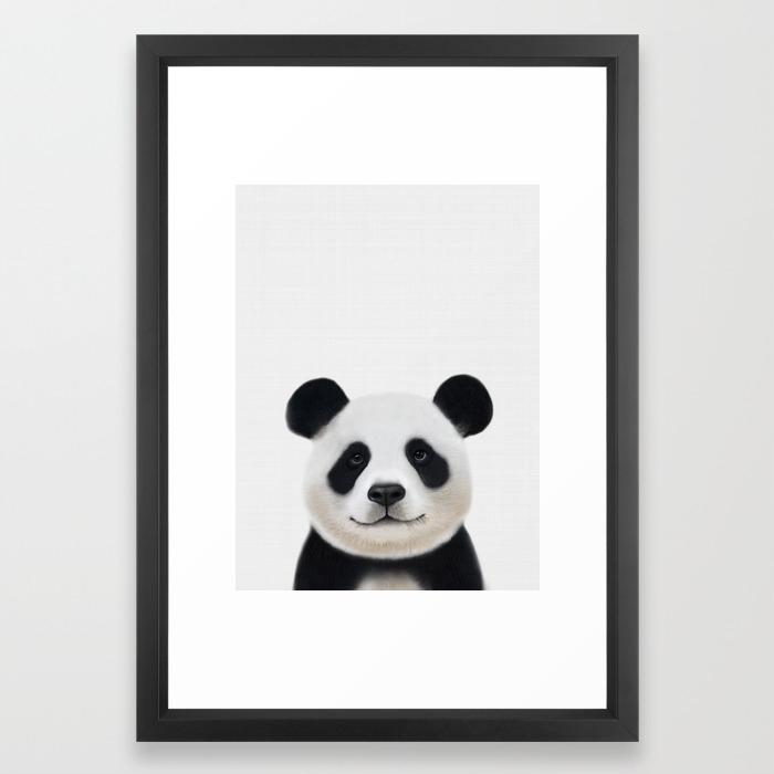 Panda Print Nursery Art Decor Animal Baby Animals Framed