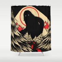 sasquatch Shower Curtains featuring The Hunt by CinnamonSasquatch