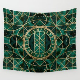 Web of Wyrd The Matrix of Fate - Gold and Malachite Wall Tapestry