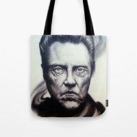 christopher walken Tote Bags featuring Christopher Walken Portrait by joeandersonart