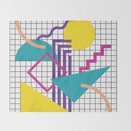 Memphis Pattern - 80s Retro White Throw Blanket