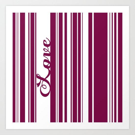 Barcode Love; Purple. Art Print