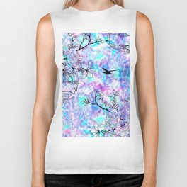 Vintage black bird flowers pink teal watercolor pattern Biker Tank