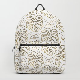 Gold Monstera on White Backpack