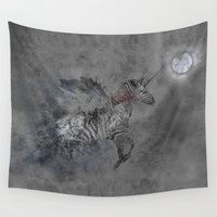 safari Wall Tapestries featuring Safari moon by gwenola de muralt