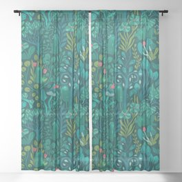Emerald forest keepers. Magic woodland creatures. Sheer Curtain