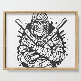 Military skull with guns Serving Tray