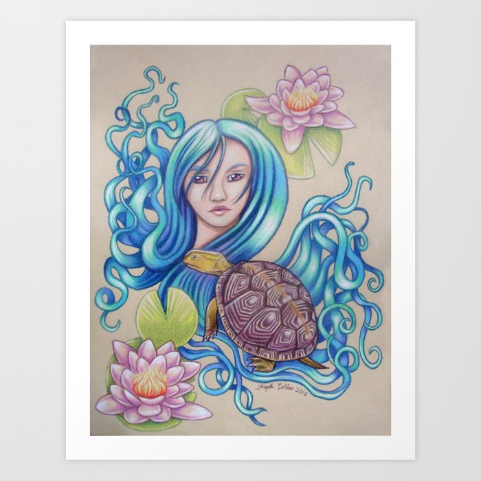 Blue Nova, Turtle Colored Pencil Drawing Art Print