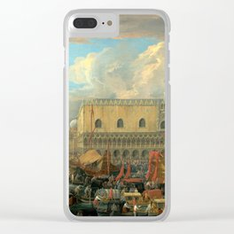 Luca Carlevarijs The Bucintoro Departing from the Bacino di San Marco Clear iPhone Case