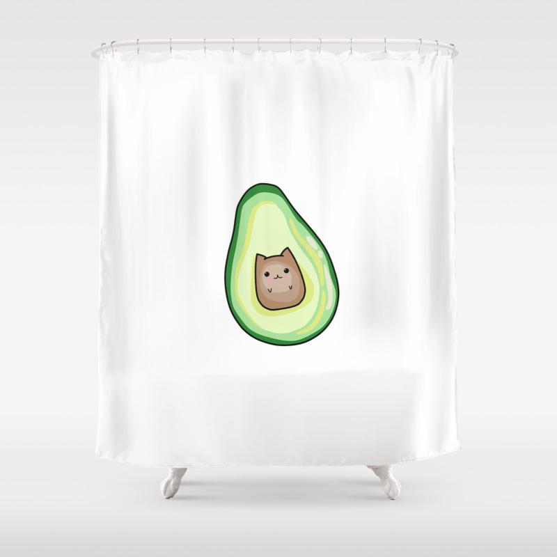 Avocato Avocado Cat Print Shower Curtain By Artbybee7 Society6