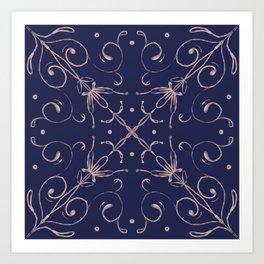 Tile blue and blush 2 Art Print