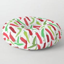 New Mexico Christmas Hatch Chiles in White Floor Pillow