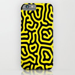 Black and yellow hick large geometrical curved labyrinth lines for home decoration. iPhone Case