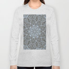 Light Blue Center Swirl Mandala Long Sleeve T-shirt