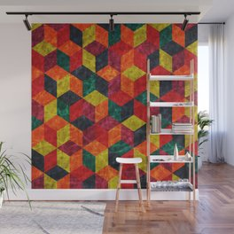 Colorful Isometric Cubes IV Wall Mural