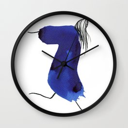 How to be a girl #8 -minimalist girl in bright blue ink Wall Clock